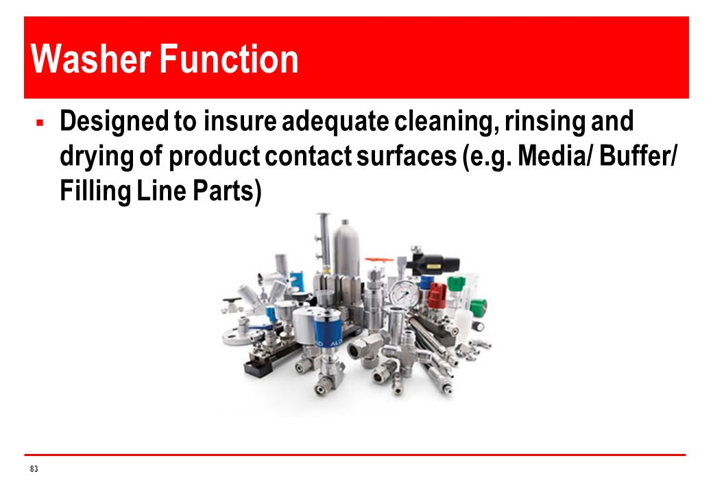Washer Function Designed to insure adequate cleaning, rinsing and drying of product contact surfaces (e.g.