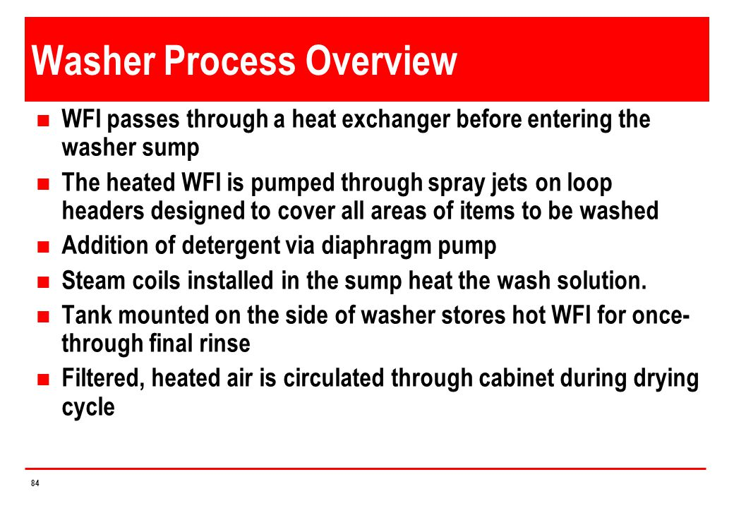 Washer Process Overview