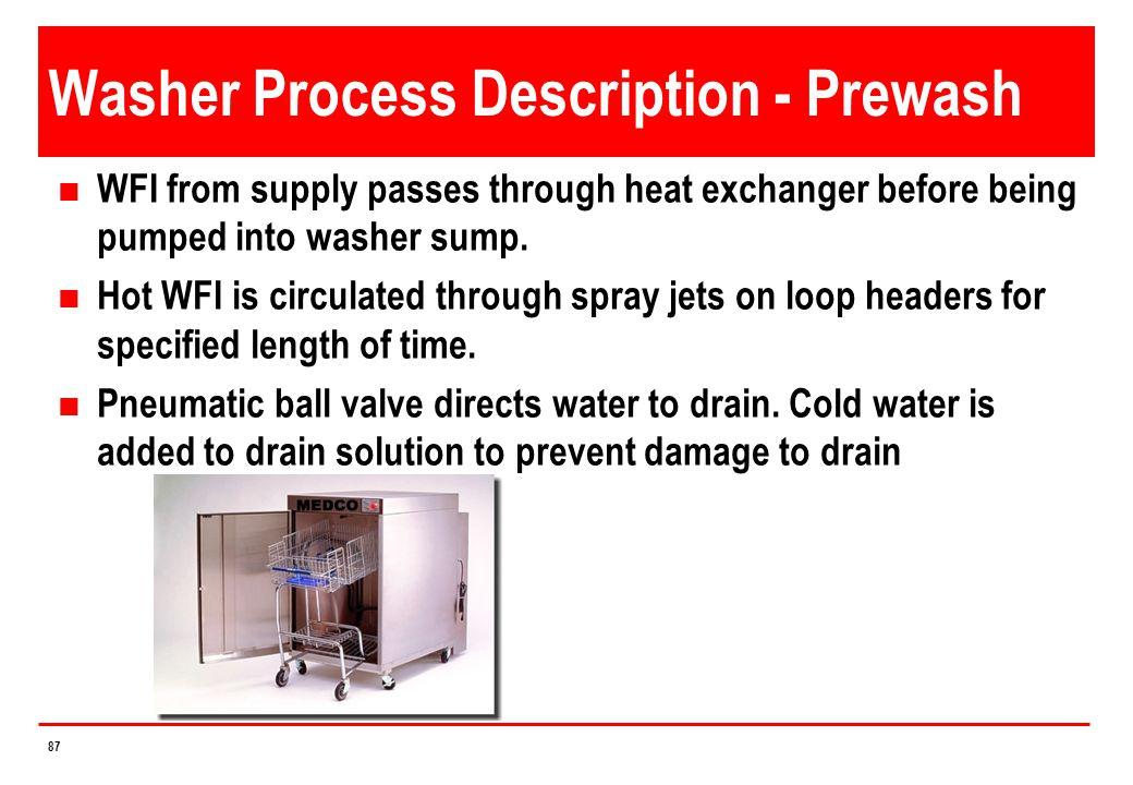 Washer Process Description - Prewash