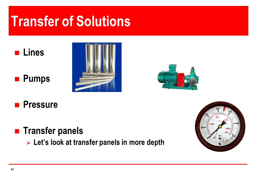 Transfer of Solutions Lines Pumps Pressure Transfer panels