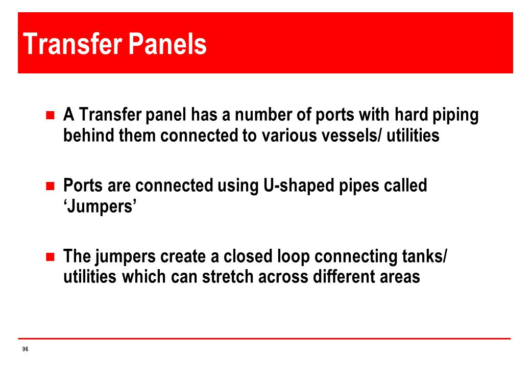 4/14/2017 Transfer Panels. A Transfer panel has a number of ports with hard piping behind them connected to various vessels/ utilities.