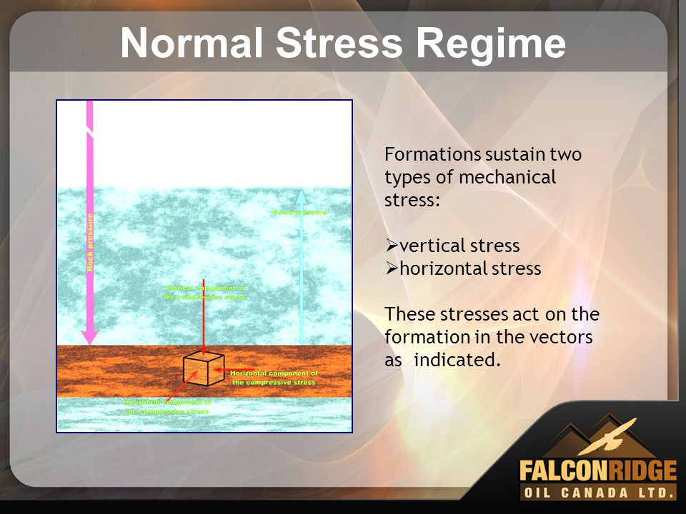 Normal Stress Regime Formations sustain two types of mechanical stress: vertical stress. horizontal stress.