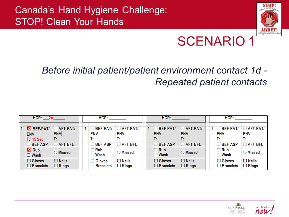 SCENARIO 1 Before initial patient/patient environment contact 1d - Repeated patient contacts