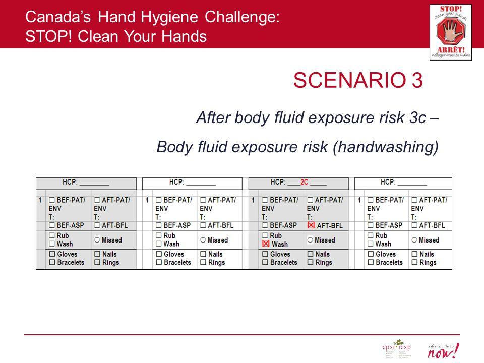 SCENARIO 3 After body fluid exposure risk 3c –