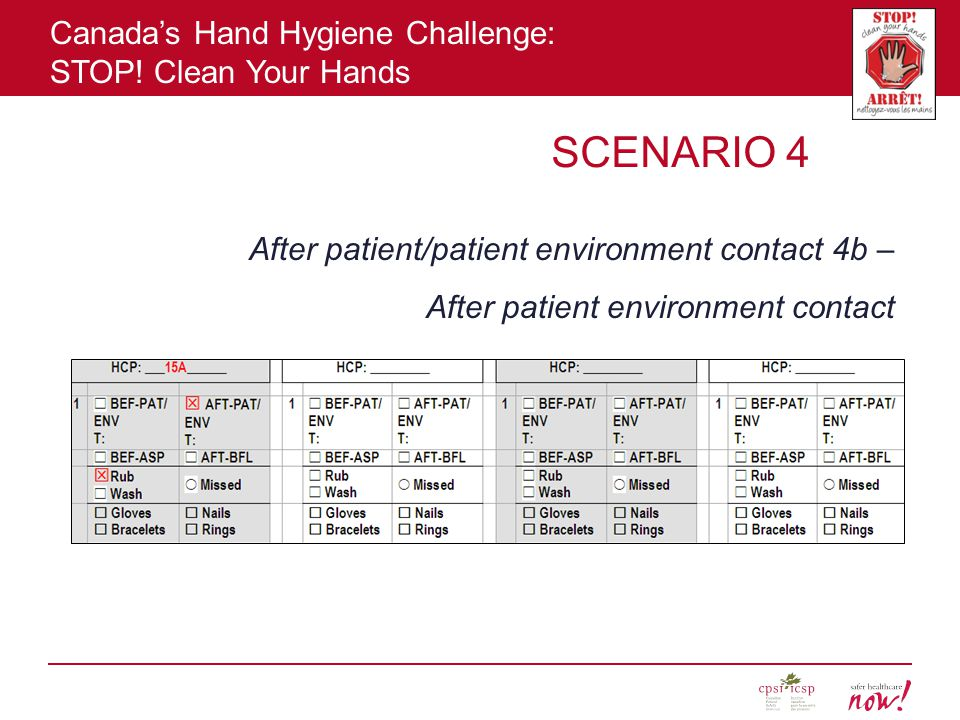 SCENARIO 4 After patient/patient environment contact 4b – After patient environment contact