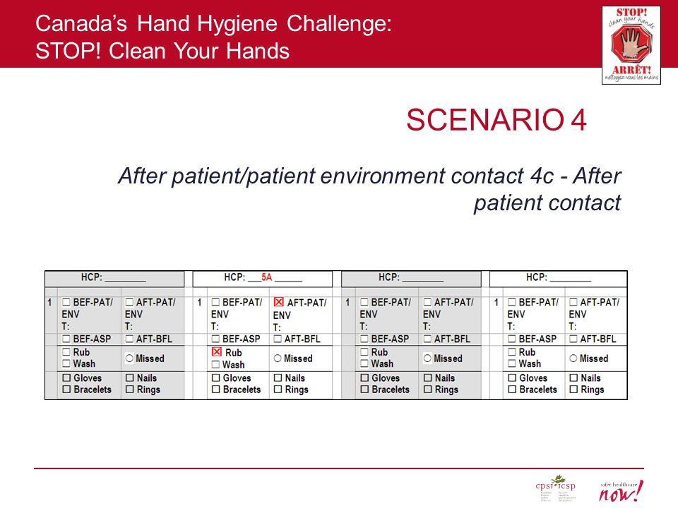 SCENARIO 4 After patient/patient environment contact 4c - After patient contact