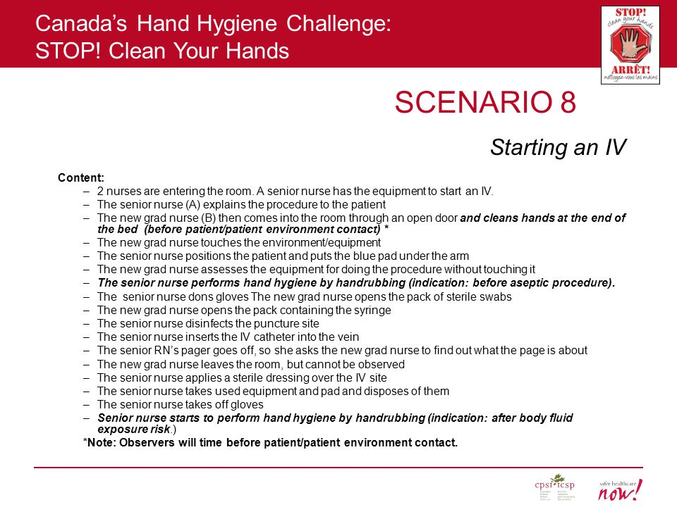 SCENARIO 8 Starting an IV Content: