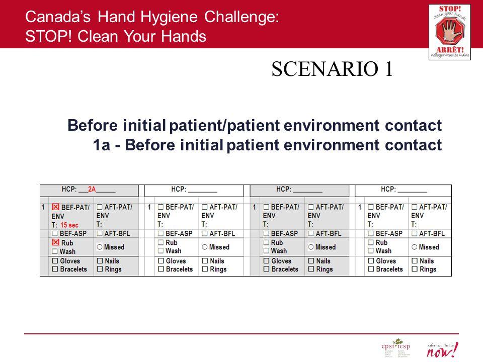 SCENARIO 1 Before initial patient/patient environment contact 1a - Before initial patient environment contact.