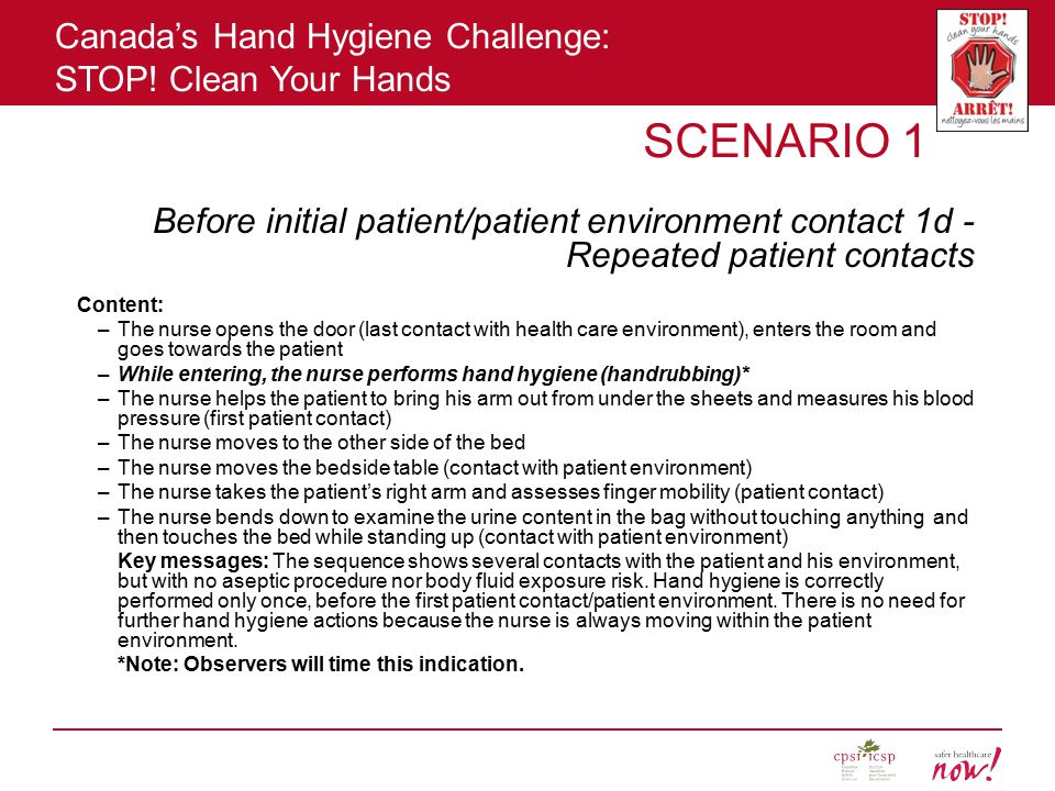 SCENARIO 1 Before initial patient/patient environment contact 1d - Repeated patient contacts. Content:
