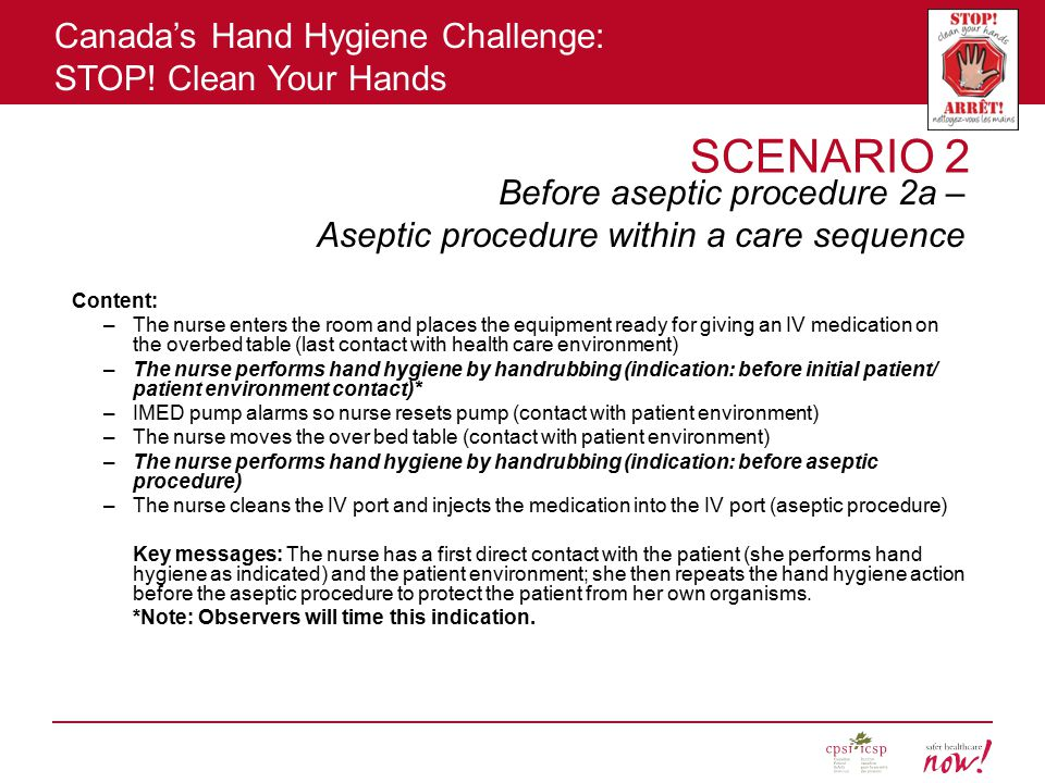 Before aseptic procedure 2a – Aseptic procedure within a care sequence