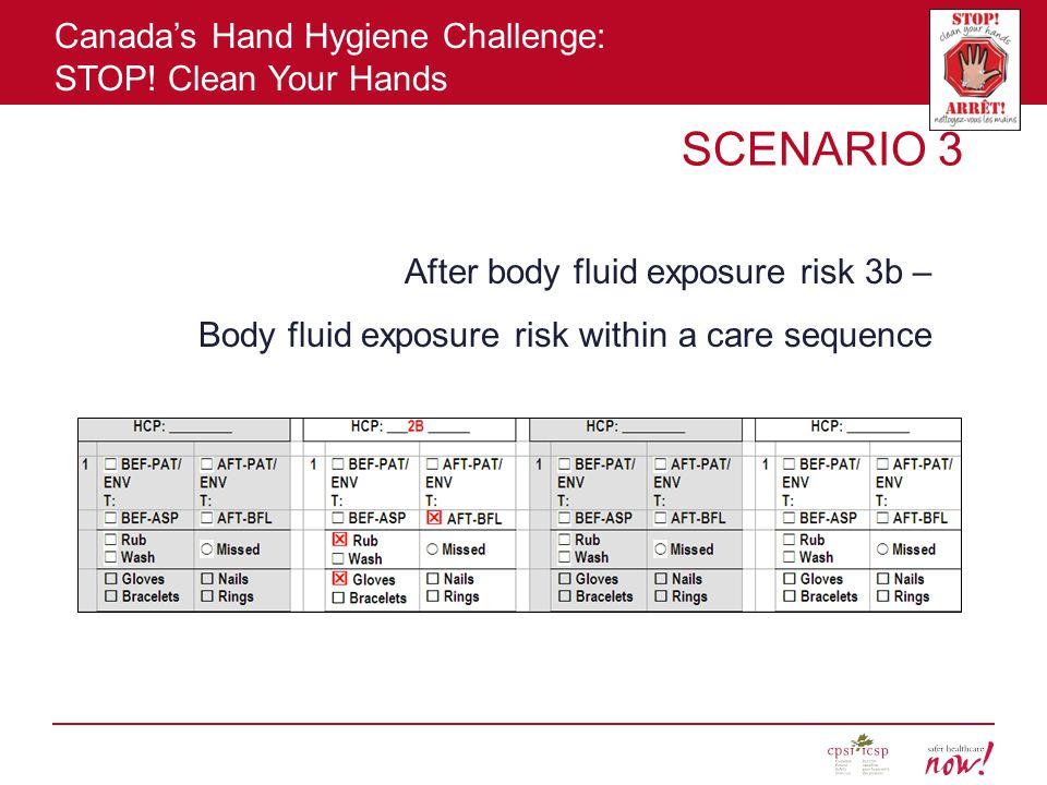 SCENARIO 3 After body fluid exposure risk 3b –