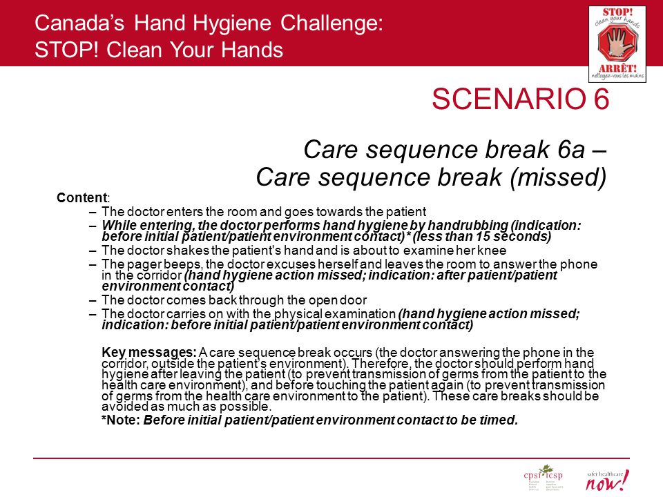 SCENARIO 6 Care sequence break 6a – Care sequence break (missed)