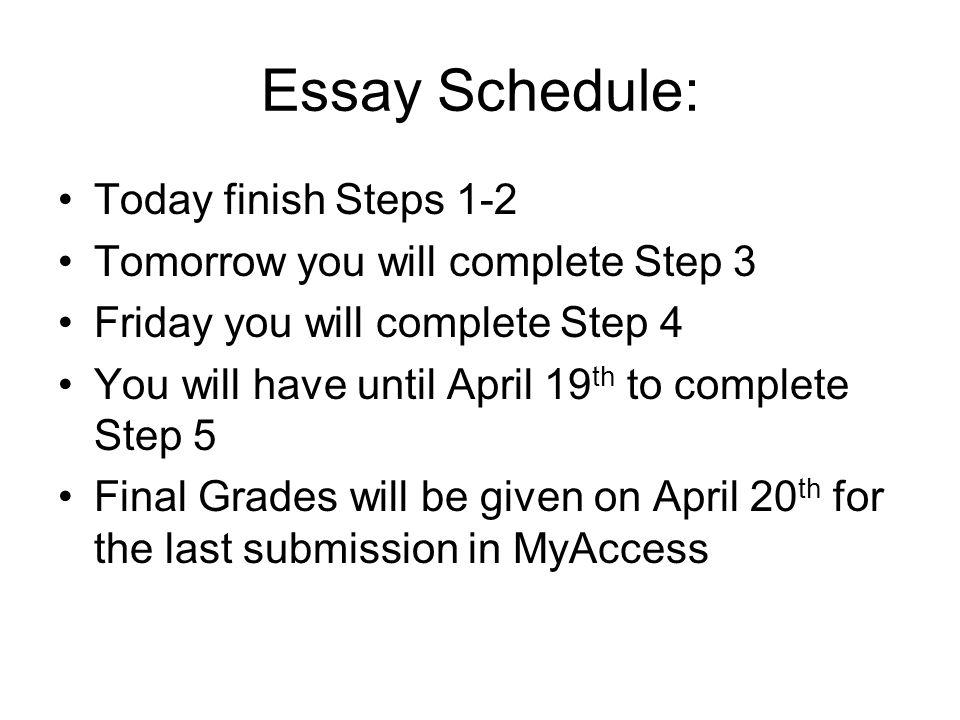 Essay Schedule: Today finish Steps 1-2