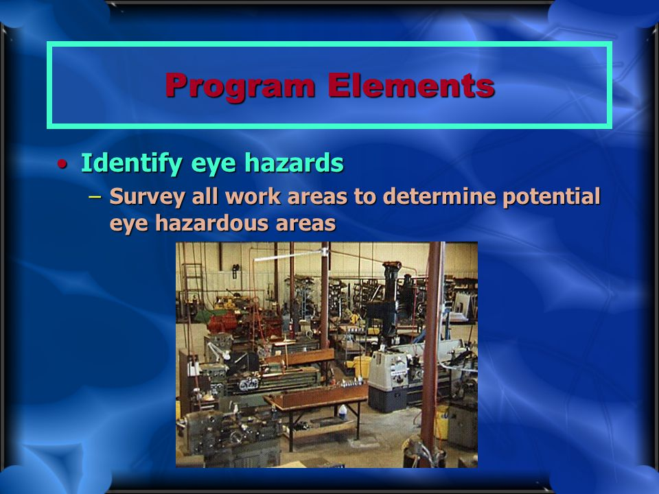 Program Elements Identify eye hazards