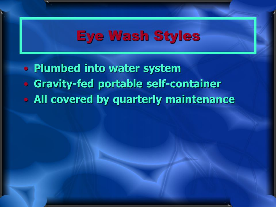 Eye Wash Styles Plumbed into water system