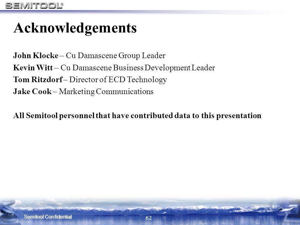 Acknowledgements John Klocke – Cu Damascene Group Leader