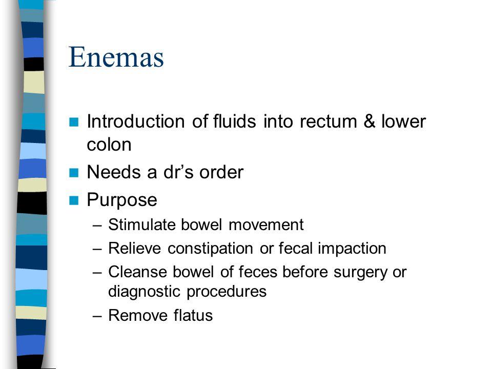 Enemas Introduction of fluids into rectum & lower colon
