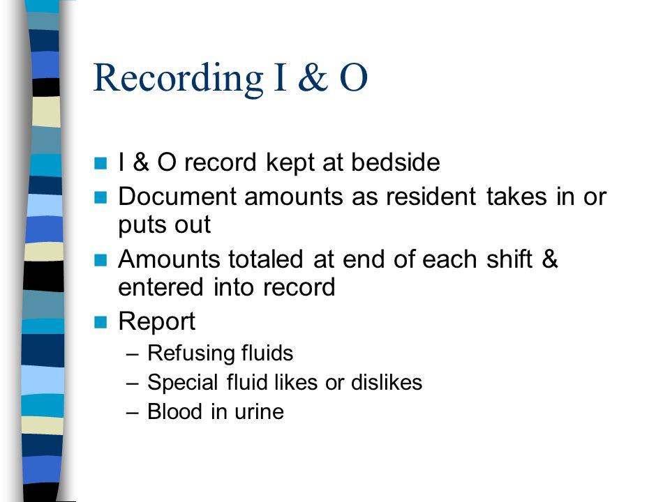 Recording I & O I & O record kept at bedside