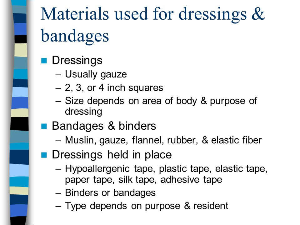 Materials used for dressings & bandages