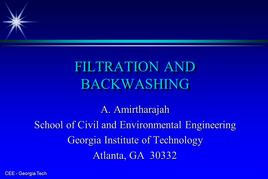 FILTRATION AND BACKWASHING