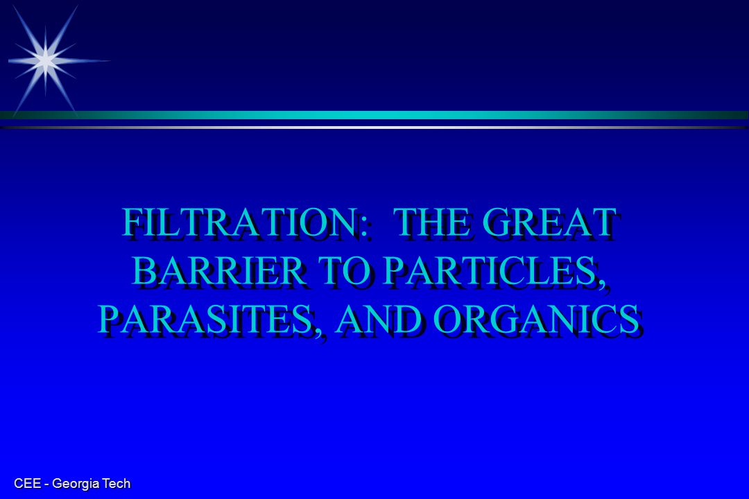 FILTRATION: THE GREAT BARRIER TO PARTICLES, PARASITES, AND ORGANICS