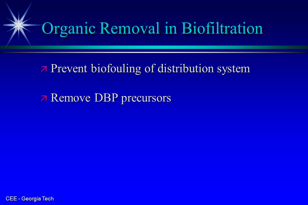 Organic Removal in Biofiltration