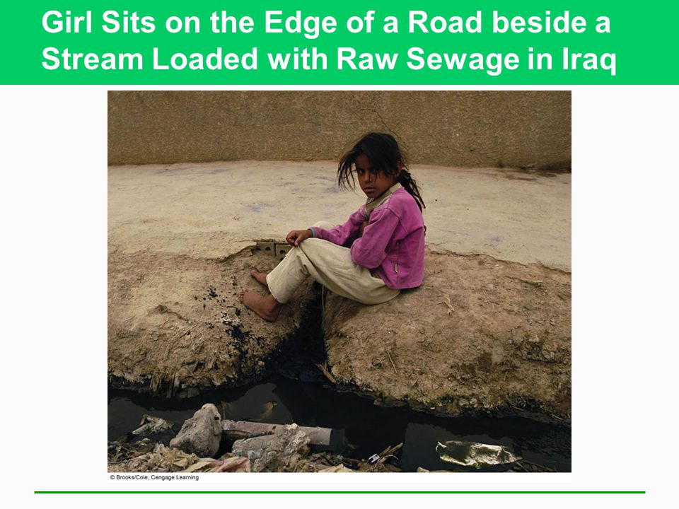Girl Sits on the Edge of a Road beside a Stream Loaded with Raw Sewage in Iraq