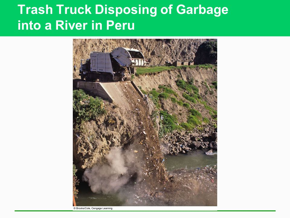 Trash Truck Disposing of Garbage into a River in Peru