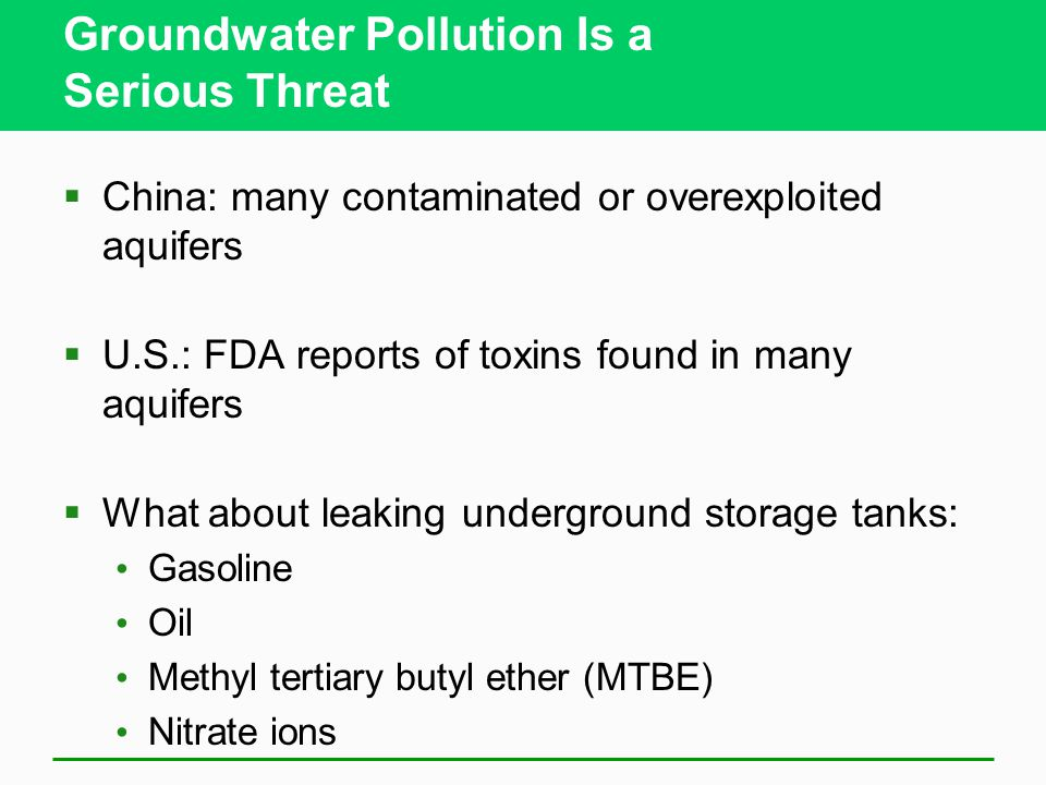 Groundwater Pollution Is a Serious Threat