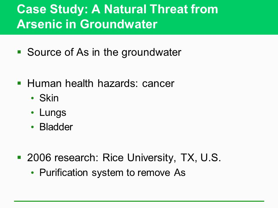 Case Study: A Natural Threat from Arsenic in Groundwater