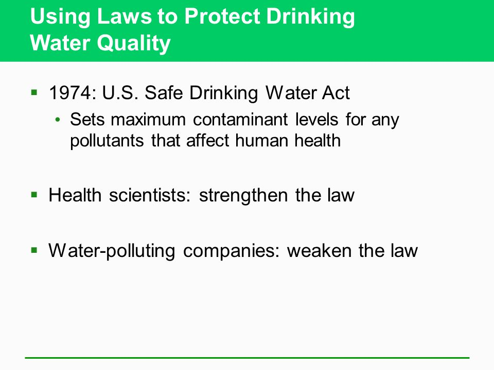 Using Laws to Protect Drinking Water Quality