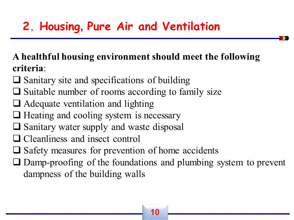 2. Housing, Pure Air and Ventilation