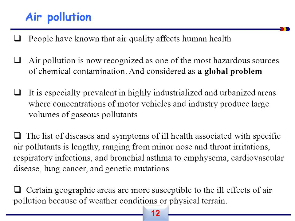 Air pollution People have known that air quality affects human health