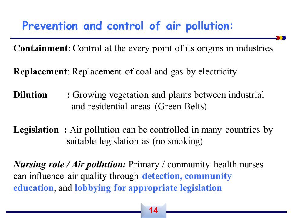 Prevention and control of air pollution: