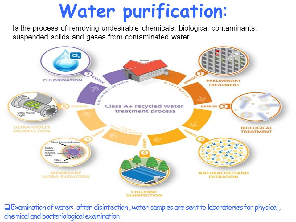 Water purification: Is the process of removing undesirable chemicals, biological contaminants, suspended solids and gases from contaminated water.