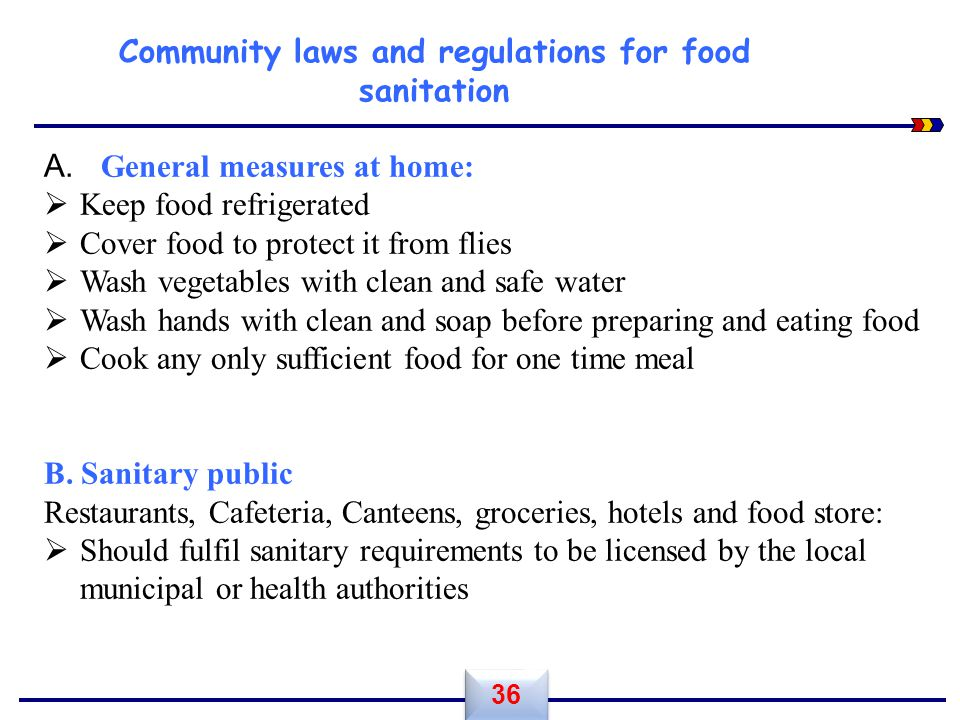 Community laws and regulations for food sanitation