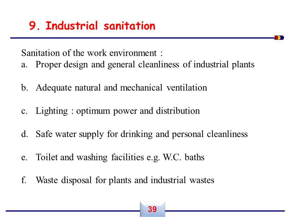 9. Industrial sanitation