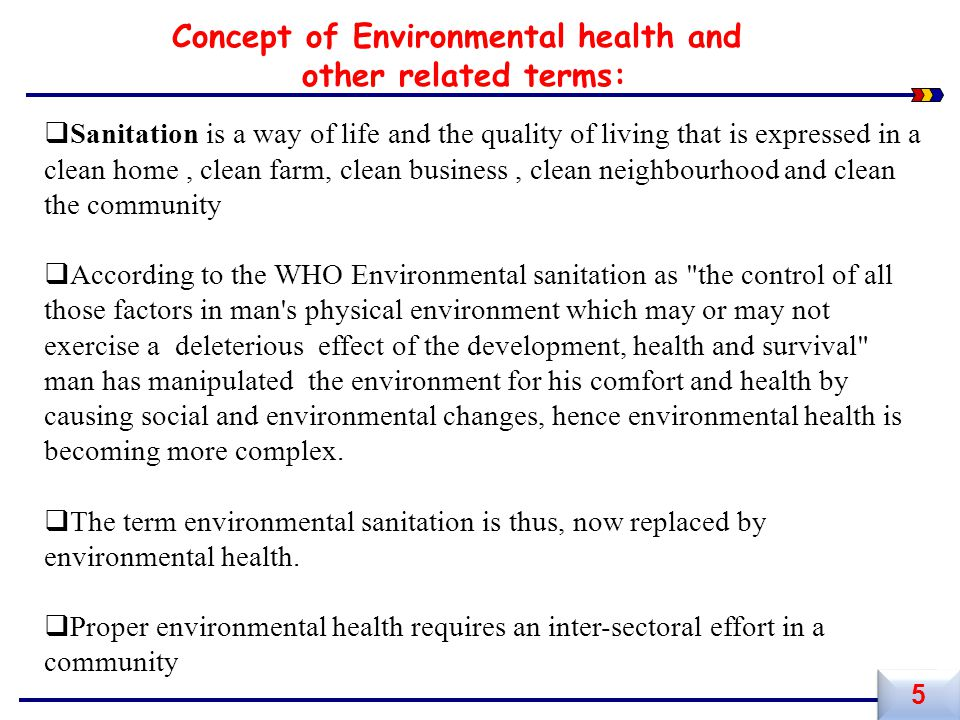 Concept of Environmental health and