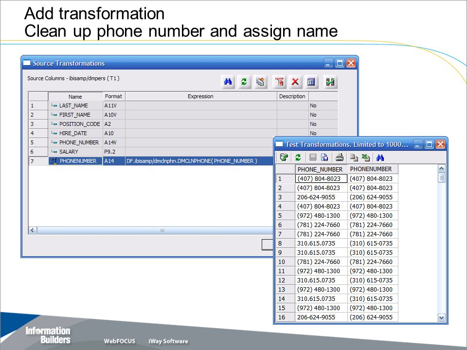Add transformation Clean up phone number and assign name