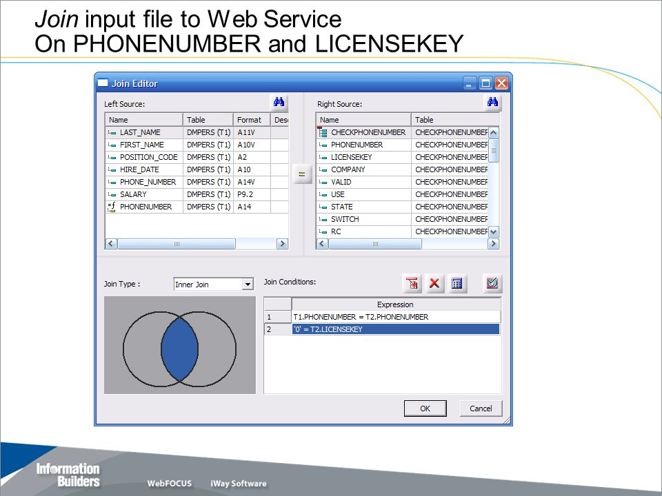 Join input file to Web Service On PHONENUMBER and LICENSEKEY