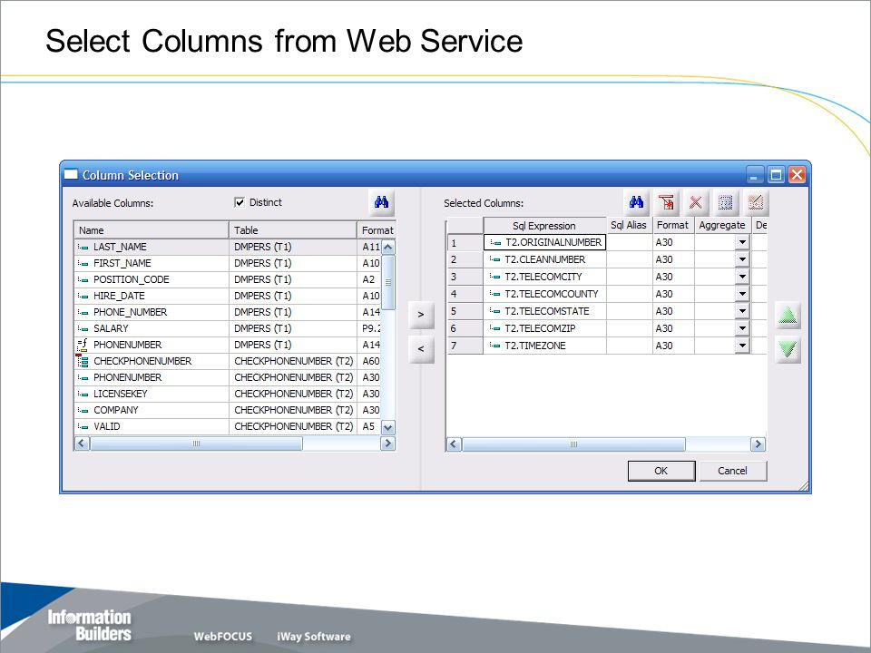 Select Columns from Web Service