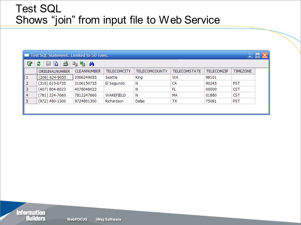 Test SQL Shows join from input file to Web Service
