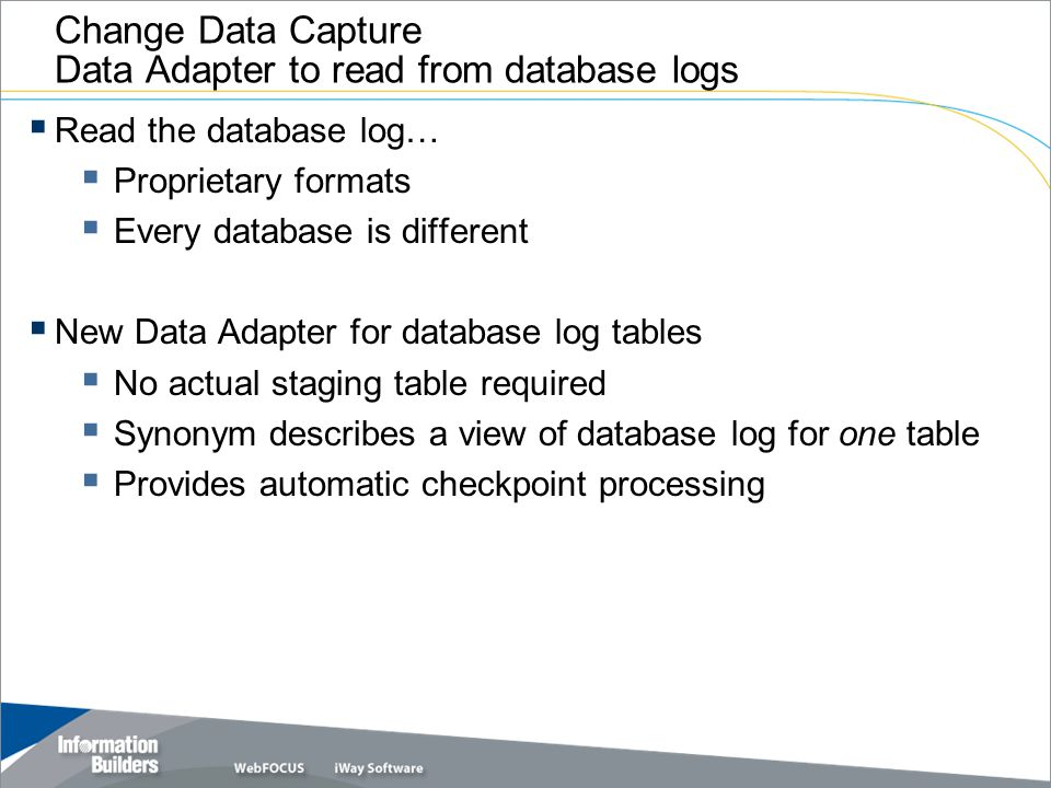Change Data Capture Data Adapter to read from database logs
