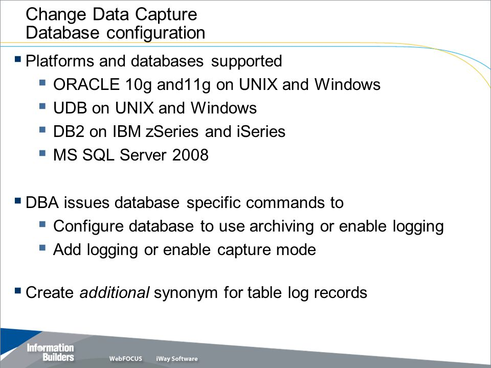 Change Data Capture Database configuration
