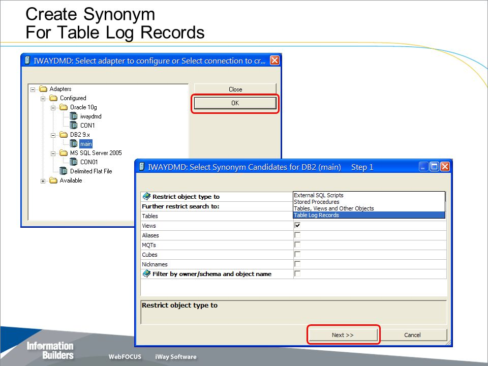 Create Synonym For Table Log Records