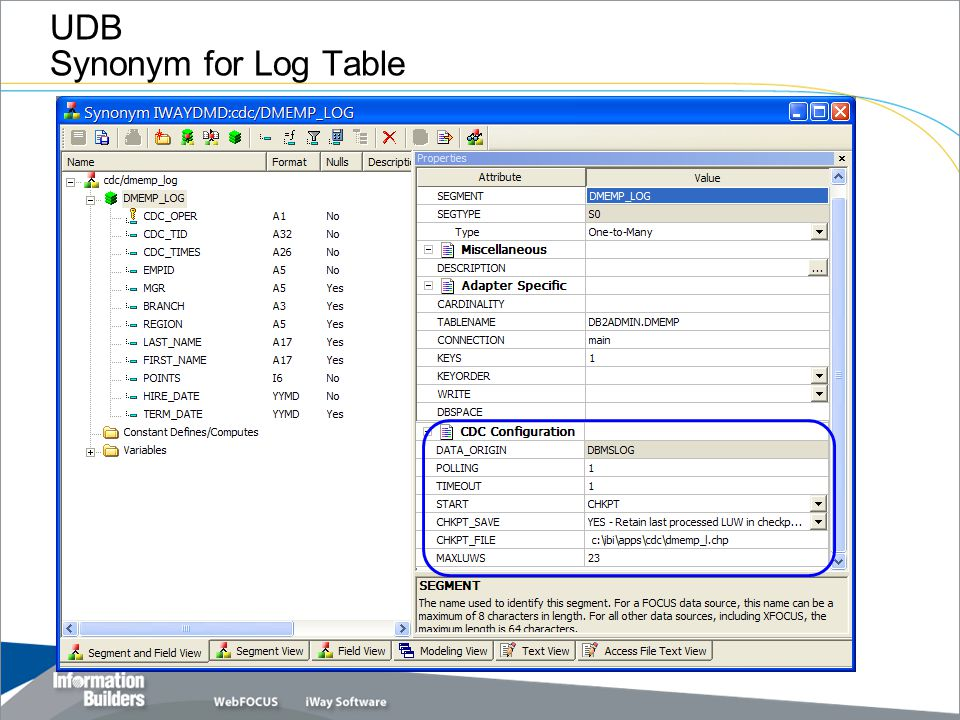 UDB Synonym for Log Table