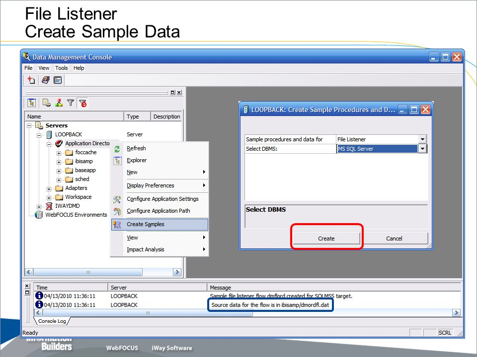 File Listener Create Sample Data