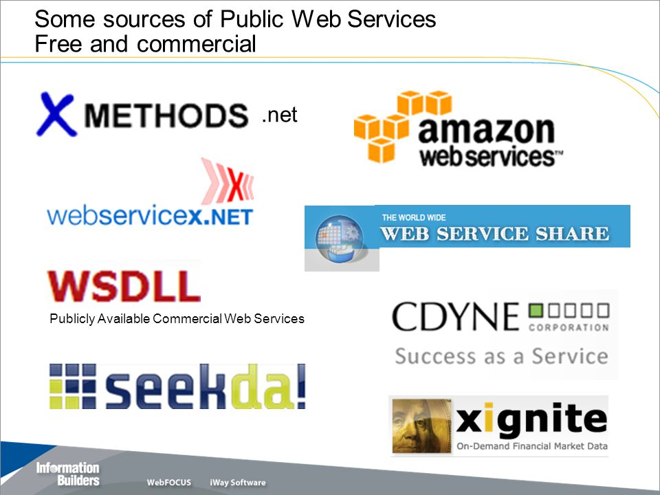 Some sources of Public Web Services Free and commercial