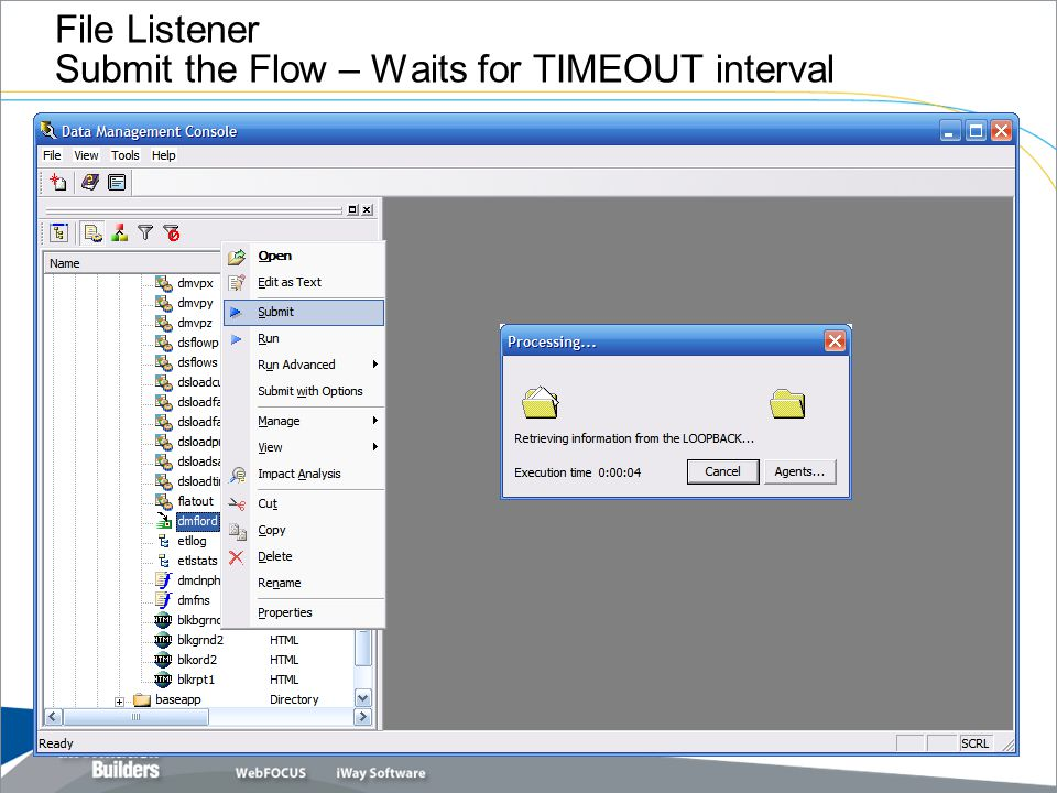 File Listener Submit the Flow – Waits for TIMEOUT interval
