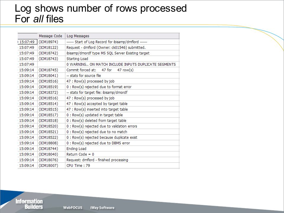 Log shows number of rows processed For all files